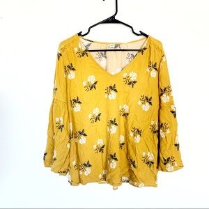 Yellow Floral Boho Bell Sleeve Blouse